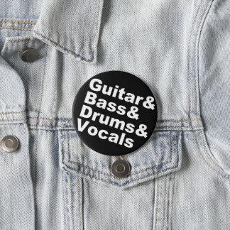 Guitar&Bass&Drums&Vocals (wht) 3 Inch Round Button