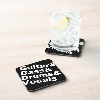Guitar&Bass&Drums&Vocals (wht) Coaster