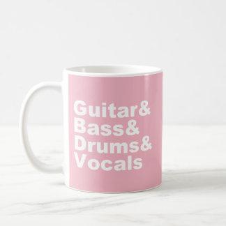 Guitar&Bass&Drums&Vocals (wht) Coffee Mug