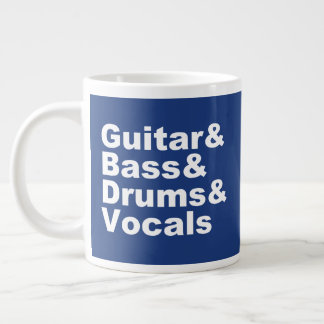 Guitar&Bass&Drums&Vocals (wht) Large Coffee Mug