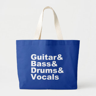 Guitar&Bass&Drums&Vocals (wht) Large Tote Bag