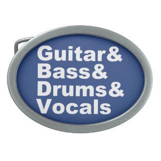 Guitar&Bass&Drums&Vocals (wht) Oval Belt Buckles