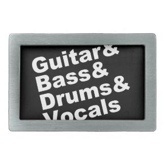 Guitar&Bass&Drums&Vocals (wht) Rectangular Belt Buckles