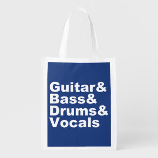 Guitar&Bass&Drums&Vocals (wht) Reusable Grocery Bag