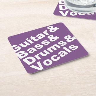 Guitar&Bass&Drums&Vocals (wht) Square Paper Coaster