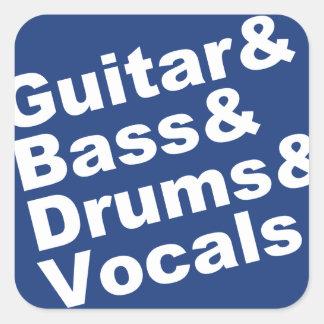 Guitar&Bass&Drums&Vocals (wht) Square Sticker