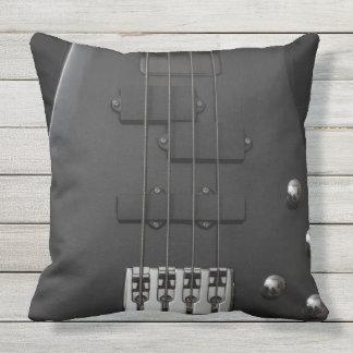 Guitar bass  instrument black throw pillow