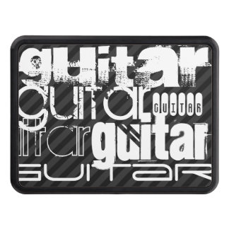 Guitar; Black & Dark Gray Stripes Trailer Hitch Covers