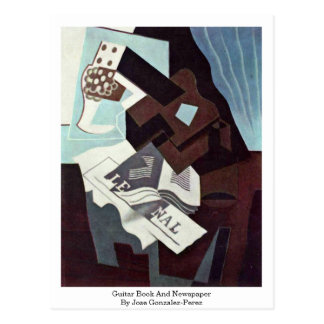 Guitar Book And Newspaper By Jose Gonzalez-Perez Postcard