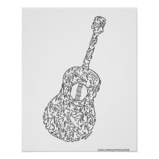 GUITAR by NICHOLAS_COPYRIGHT_MINIFACES Poster