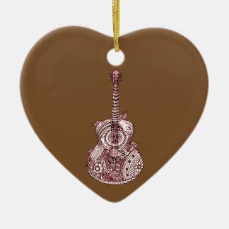 Guitar Ceramic Heart Ornament