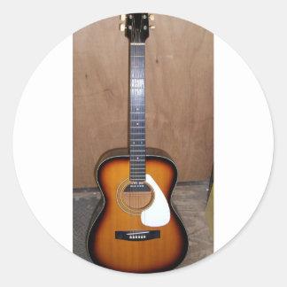 guitar classic round sticker