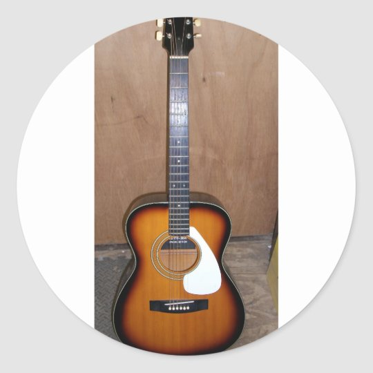 guitar classic round sticker