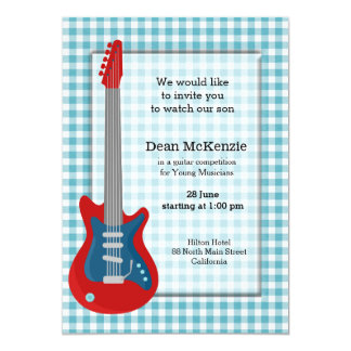 """Guitar competition 5"""" x 7"""" invitation card"""