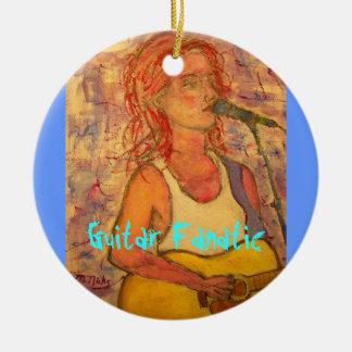 Guitar Fanatic Girl Round Ceramic Ornament