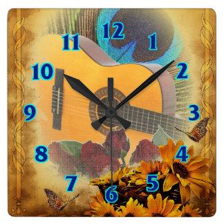 Guitar Floral Square Wall Clock
