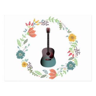Guitar Flower Ring Postcard