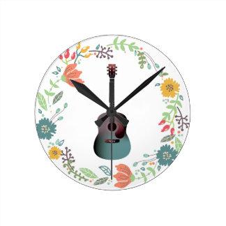 Guitar Flower Ring Round Clock