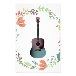 Guitar Flower Ring Stationery