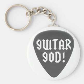 Guitar God with Pick Basic Round Button Keychain
