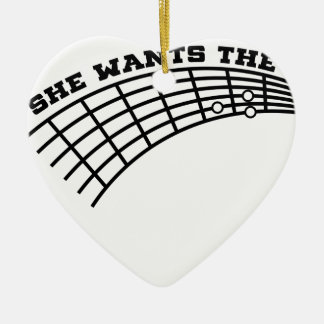 guitar humor ceramic heart ornament