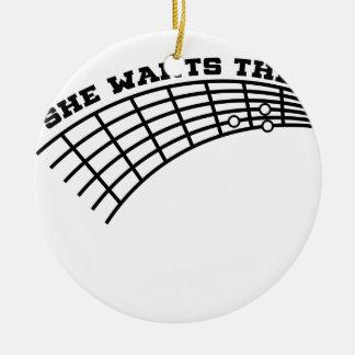 guitar humor round ceramic ornament