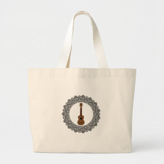 guitar in a round large tote bag