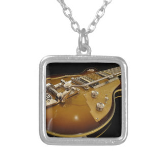 Guitar Instrument Music Rock Music Silver Plated Necklace