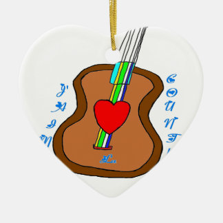 GUITAR J LIKES COUNTRY.png Ceramic Heart Ornament