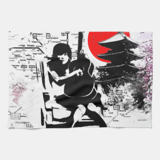 Guitar Japanese Girl Kitchen Towels