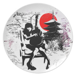 Guitar Japanese Girl Party Plate