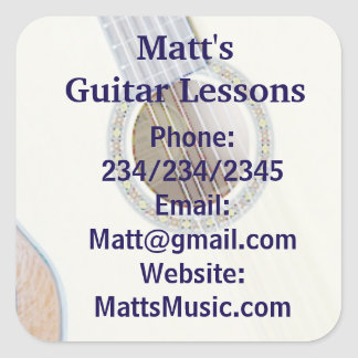 Guitar Lessons Promotional Stickers