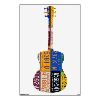 Guitar License Plate Art Vintage Recycled Decal
