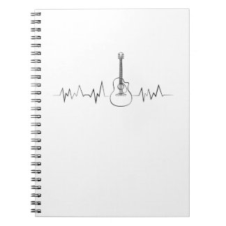 Guitar Lover Gifts Guitarist Heartbeat Pulse Funny Notebook