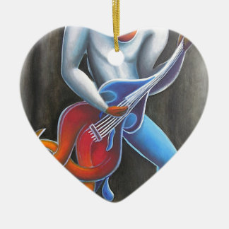 Guitar Man Ceramic Heart Ornament