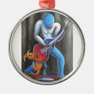 Guitar Man Silver-Colored Round Ornament