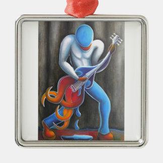 Guitar Man Silver-Colored Square Ornament