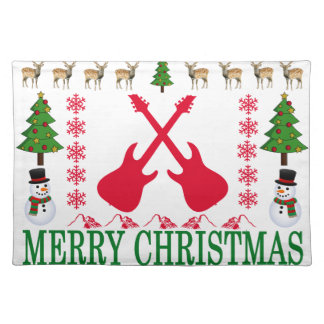 GUITAR MERRY CHRISTMAS . PLACEMAT