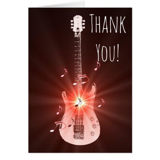 Guitar Music Theme Thank You Card