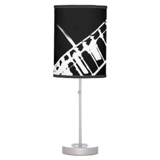guitar neck stamp black and white table lamp