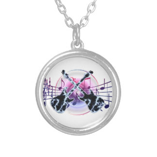 Guitar Notes Silver Plated Necklace