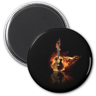 Guitar on fire 2 inch round magnet