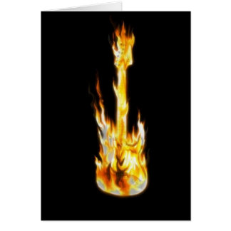 Guitar on fire greeting cards