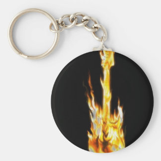Guitar on fire key chain