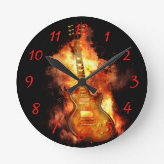 Guitar on fire round clock
