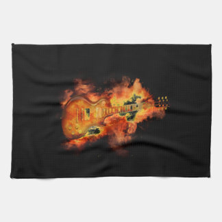 Guitar on fire towel