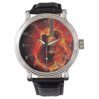 Guitar on fire wrist watch