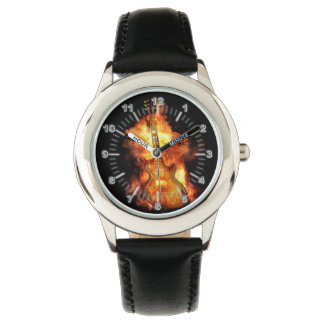 Guitar on fire wrist watches