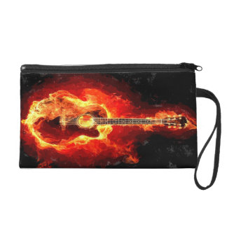 Guitar On Fire Wristlet Clutch
