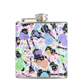 Guitar Patterned Hip Flask